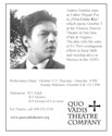 Andres Sinohui stars as Father Miguel Pro in ¡Viva Cristo Rey! which opens October 5 at the Historic Hoover Theater in San Jose. (Park & Naglee) The play tells the story of Fr. Pro's courageous efforts to keep faith and worship alive in Mexico in the 1920's Performance Dates: October 5-21 Thursday - Saturday: 8 PM Sunday Matinees: (October 8 & 15) 2 PM Admission: $15 Adult $12 Seniors $10 Groups of 6 or more For Tickets, call 408-252-3530 www.quovadistheatre.org